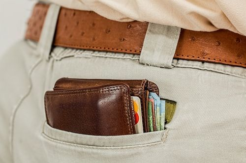 Man's pants with wallet and belt