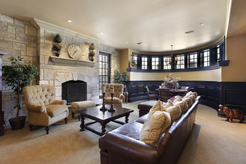 Stone wall living room